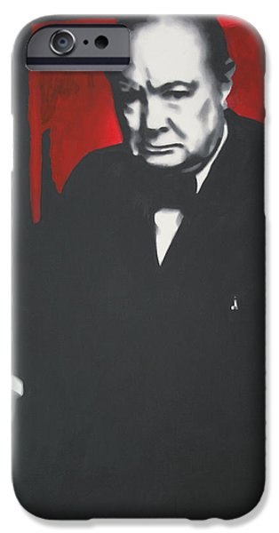 Ludzska Paintings iPhone Cases - - Churchill - iPhone Case by Luis Ludzska