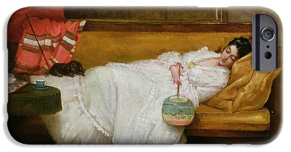 Cushion iPhone Cases -  Girl in a white dress resting on a sofa iPhone Case by Alfred Emile Stevens