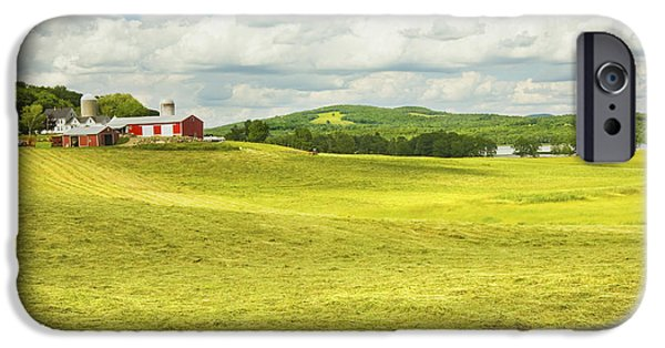 Farm iPhone Cases -  Hay harvesting In Field Outside Red Barn Maine iPhone Case by Keith Webber Jr