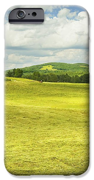 Hay harvesting In Field Outside Red Barn Maine iPhone Case by Keith Webber Jr