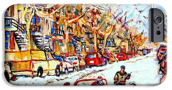 Snowy Day Paintings iPhone Cases -  Hockey Game On Colonial Street  Near Roy Montreal City Scene iPhone Case by Carole Spandau