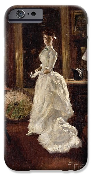 Gas Paintings iPhone Cases -  Interior scene with a lady in a white evening dress  iPhone Case by Paul Fischer