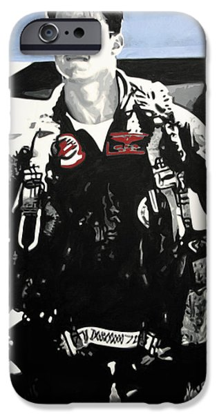 Ludzska Paintings iPhone Cases - - Maverick - iPhone Case by Luis Ludzska