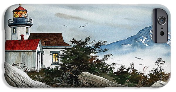 Lighthouse Paintings iPhone Cases -  Point Robinson Lighthouse and Mt. Rainier iPhone Case by James Williamson
