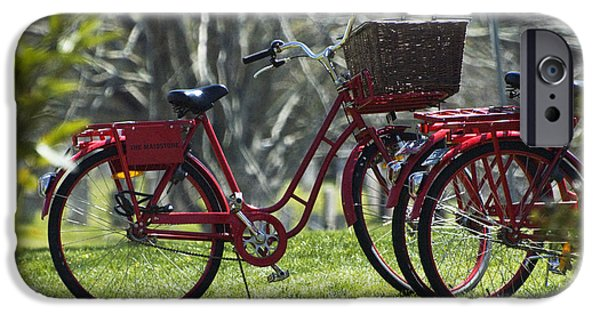 Suburban Digital Art iPhone Cases -  Red Bicycle in the Country iPhone Case by Anahi DeCanio