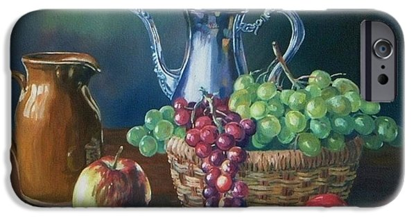 Fruit Basket iPhone Cases -  Silver iPhone Case by John Clark