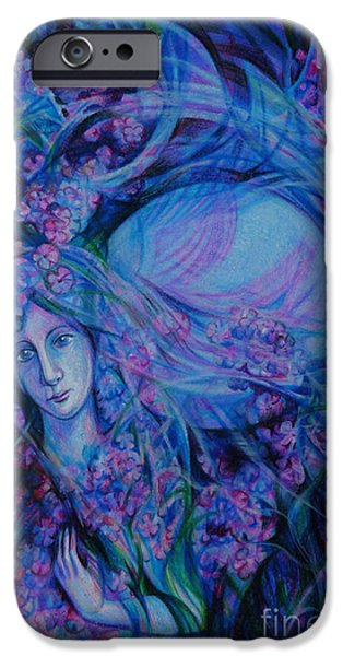 Lilacs Drawings iPhone Cases -  Song of Lilac iPhone Case by Anna  Duyunova