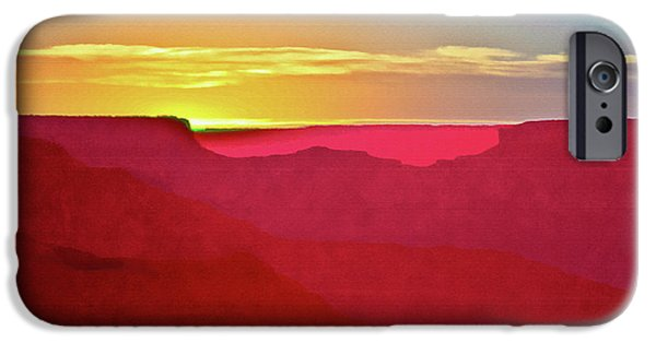 Grand Canyon Mixed Media iPhone Cases -   Sunset at Grand Canyon Desert View iPhone Case by  Bob and Nadine Johnston