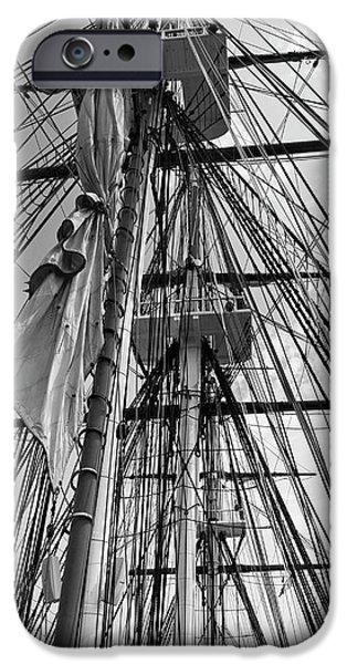 Constitution Party iPhone Cases -  USS Constitution masts BW iPhone Case by Tim Mulina