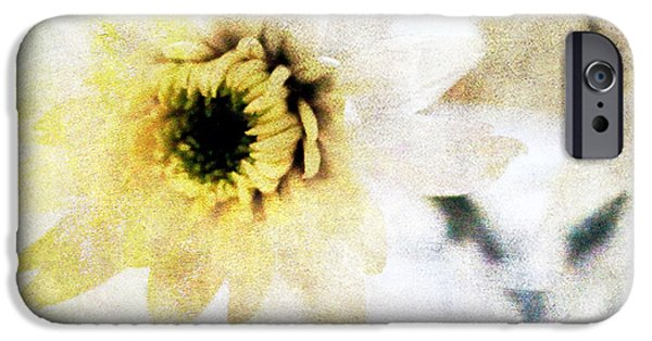 Yellow iPhone Cases -  White Flower iPhone Case by Linda Woods