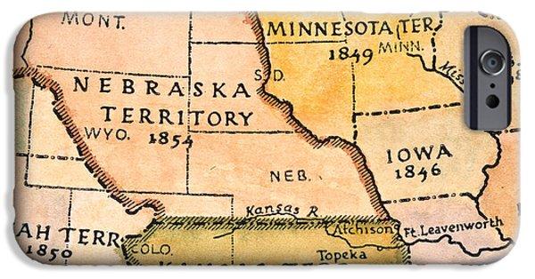 Destiny iPhone Cases - Kansas-nebraska Map, 1854 iPhone Case by Granger