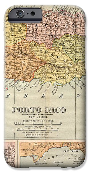 MAP: PUERTO RICO, 1900 iPhone Case by Granger