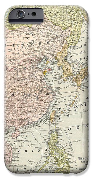 1907 Paintings iPhone Cases - Map: East Asia, 1907 iPhone Case by Granger