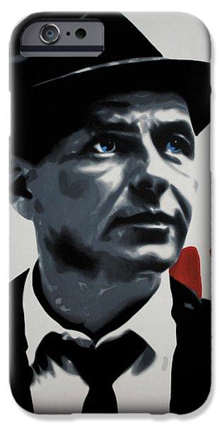 Ludzska Paintings iPhone Cases - - Sinatra - iPhone Case by Luis Ludzska