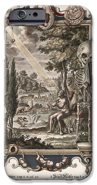1731 Johann Scheuchzer Creation Of Man iPhone Case by Paul D Stewart