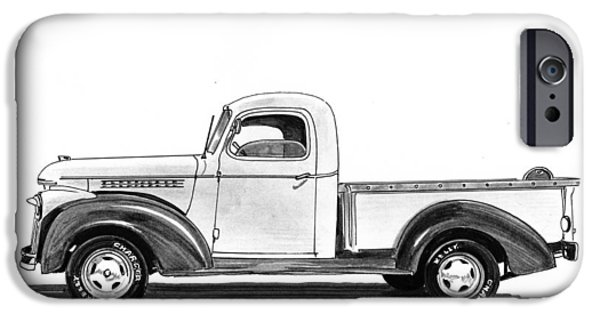 Pen And Ink Framed Prints iPhone Cases - 1946 Chevrolet Pick Up iPhone Case by Jack Pumphrey