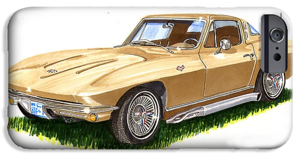 Pen And Ink Framed Prints iPhone Cases - 1964 Corvette iPhone Case by Jack Pumphrey