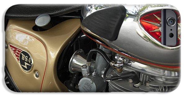 Lightning Photographer iPhone Cases - 1966 BSA 650 A-65 Spitfire Lightning Clubman Motorcycle iPhone Case by Jill Reger
