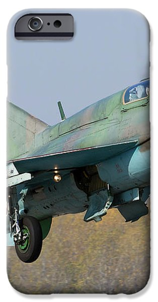 A Bulgarian Air Force Mig-21um Jet iPhone Case by Anton Balakchiev
