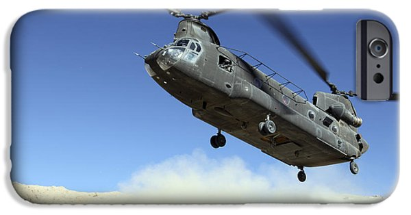 Hovering iPhone Cases - A Ch-47 Chinook Prepares To Land iPhone Case by Stocktrek Images
