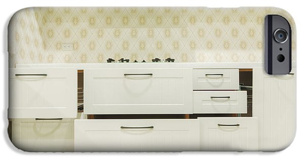 Storage Furniture iPhone Cases - A Domestic Kitchen. Drawers Partly iPhone Case by Lawren Lu