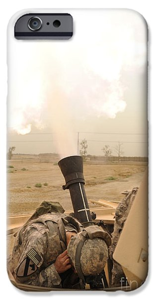 Baghdad iPhone Cases - A M120 Mortar System Is Fired iPhone Case by Stocktrek Images
