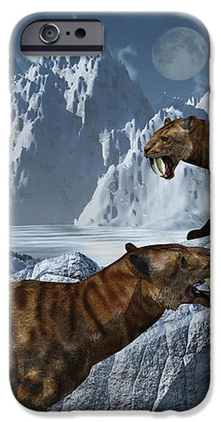 A Pair Of Sabre-toothed Tigers iPhone Case by Mark Stevenson