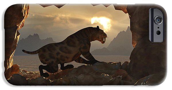 The Tiger iPhone Cases - A Sabre Tooth Tiger Stands iPhone Case by Mark Stevenson