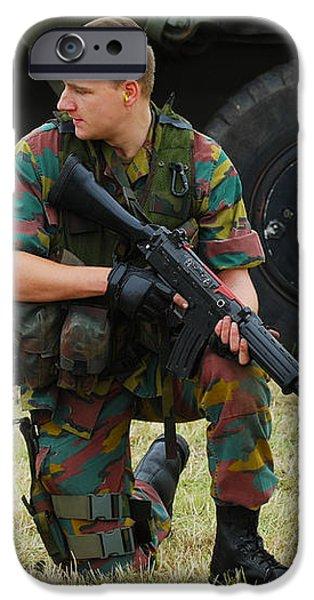 A Soldier Of An Infantry Unit iPhone Case by Luc De Jaeger