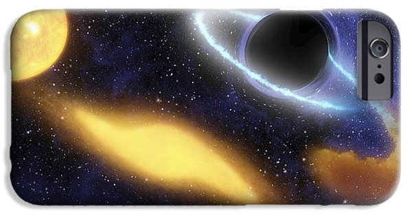Disc iPhone Cases - A Supermassive Black Hole At The Center iPhone Case by Stocktrek Images