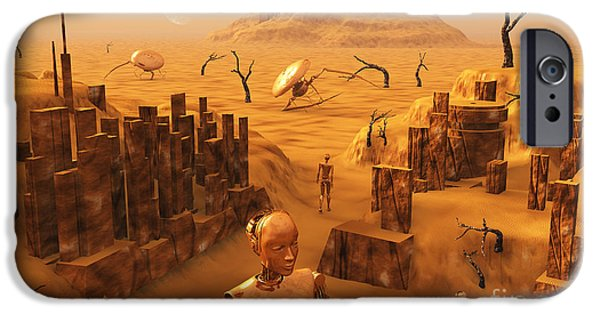Built Structure Digital Art iPhone Cases - A Team Of Robots Gather The Last iPhone Case by Mark Stevenson