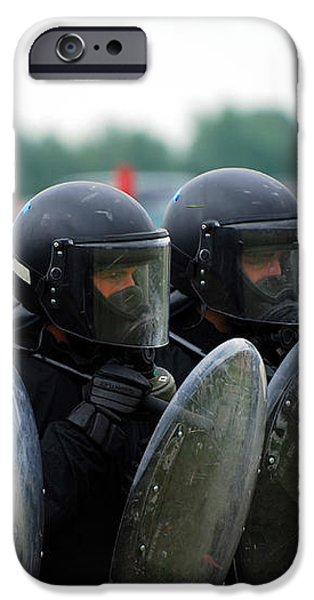 A Training Session In Riot And Crowd iPhone Case by Luc De Jaeger