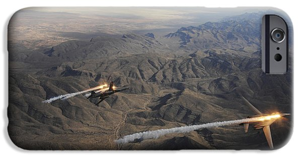 Lancer iPhone Cases - A Two-ship Of  B-1b Lancers Release iPhone Case by Stocktrek Images