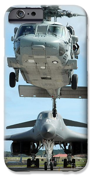 Lancer iPhone Cases - A U.s. Navy Mh-60s Seahawk Helicopter iPhone Case by Stocktrek Images