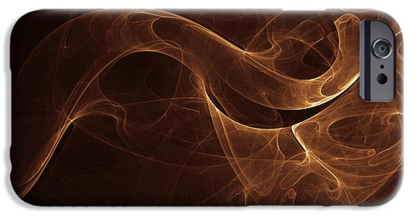 Cyberspace Digital Art iPhone Cases - Abstract Gold Illustration iPhone Case by Vlad Gerasimov