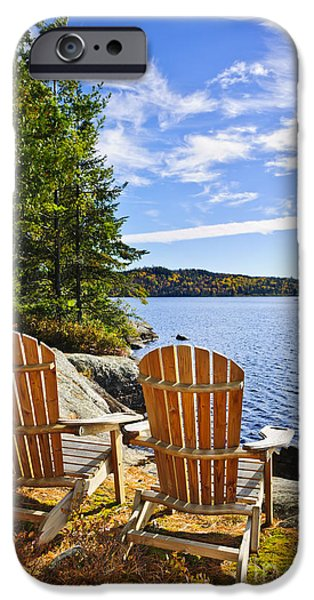 Recently Sold -  - River iPhone Cases - Adirondack chairs at lake shore iPhone Case by Elena Elisseeva