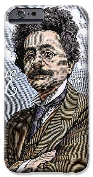 Relativity iPhone Cases - Albert Einstein, Physicist iPhone Case by Bill Sanderson