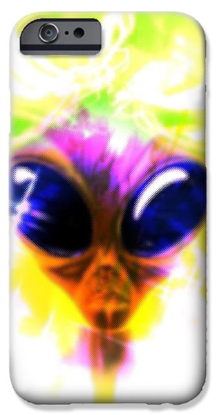 Out Of This World iPhone Cases - Alien, Artwork iPhone Case by Victor Habbick Visions