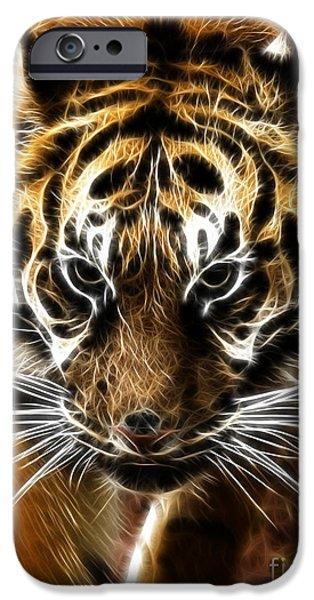 Tiger Fractal iPhone Cases - Amur Tiger Fractal iPhone Case by Steev Stamford