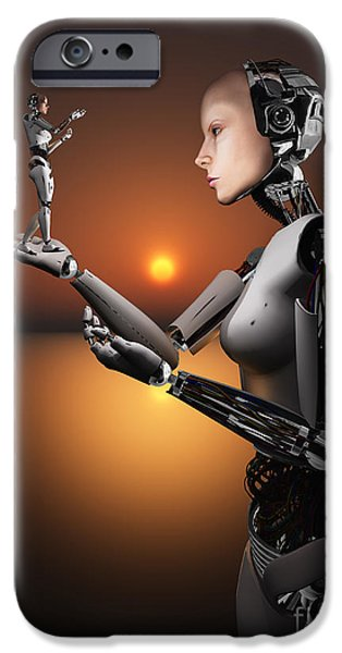 Copy Machine Digital Art iPhone Cases - An Android Takes A Closer Look iPhone Case by Mark Stevenson