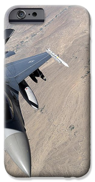 An F-16 Fighting Falcon Receives Fuel iPhone Case by Stocktrek Images