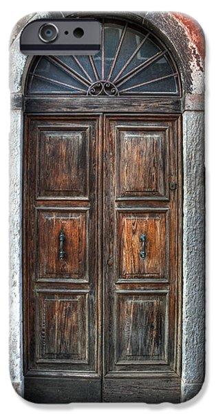 Wooden Door iPhone Cases - an old wooden door in Italy iPhone Case by Joana Kruse