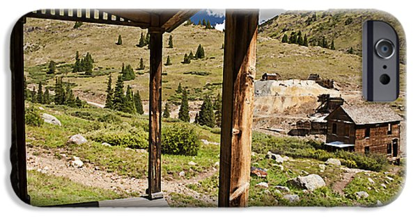 Rural Decay Digital Art iPhone Cases - Animas Forks Crosshatch iPhone Case by Melany Sarafis