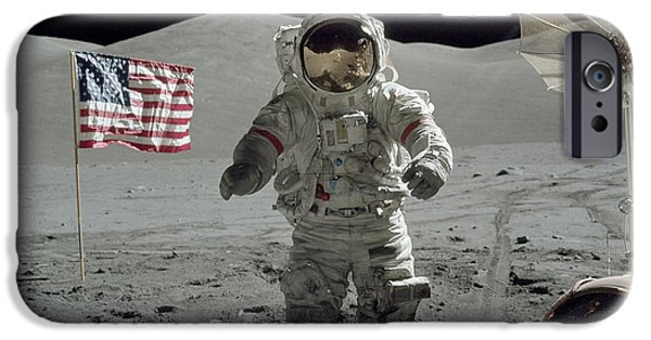 Recently Sold -  - One iPhone Cases - Apollo 17 Astronaut Stands iPhone Case by Stocktrek Images