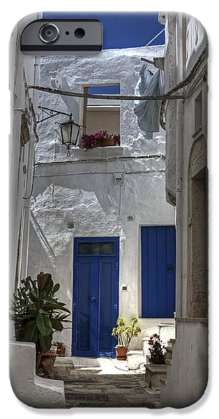 Plaster iPhone Cases - Apulia - blue-white iPhone Case by Joana Kruse