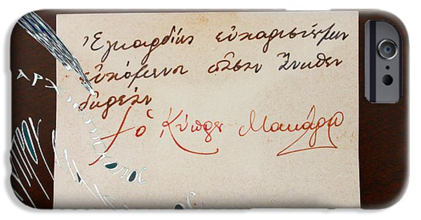 Autographed iPhone Cases - Archbishop Makarios Wishing Card iPhone Case by Augusta Stylianou