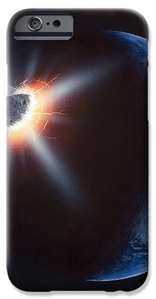 Asteroid Impacting The Earth, Artwork iPhone Case by Richard Bizley
