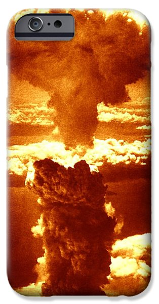 False Power iPhone Cases - Atomic Burst Over Nagasaki, 1945 iPhone Case by Us National Archives And Records Administration