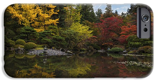 Japanese Garden iPhone Cases - Autumn Brilliance iPhone Case by Mike Reid