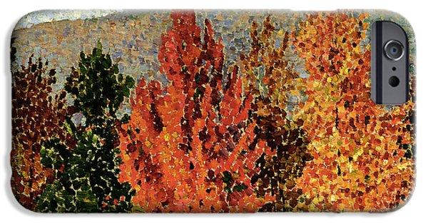 Mountain Paintings iPhone Cases - Autumn Landscape iPhone Case by Henri-Edmond Cross